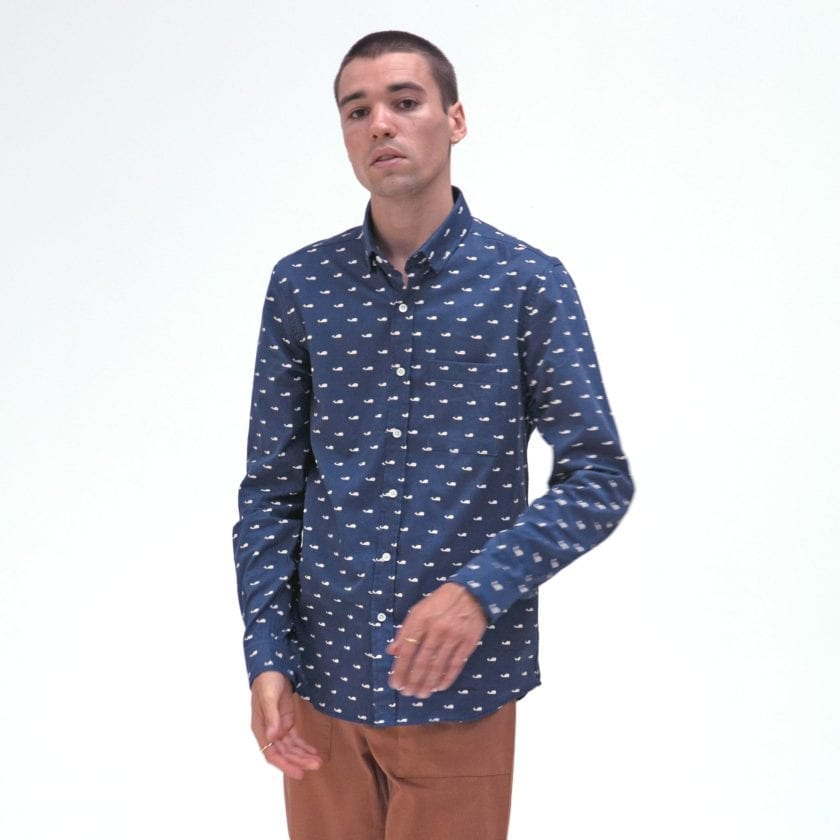 Far Afield Cognito Long Sleeve Shirt a Ensign Blue Organic Baby Twill Cotton Fabric Long Sleeve Shirt Smart Casual 2