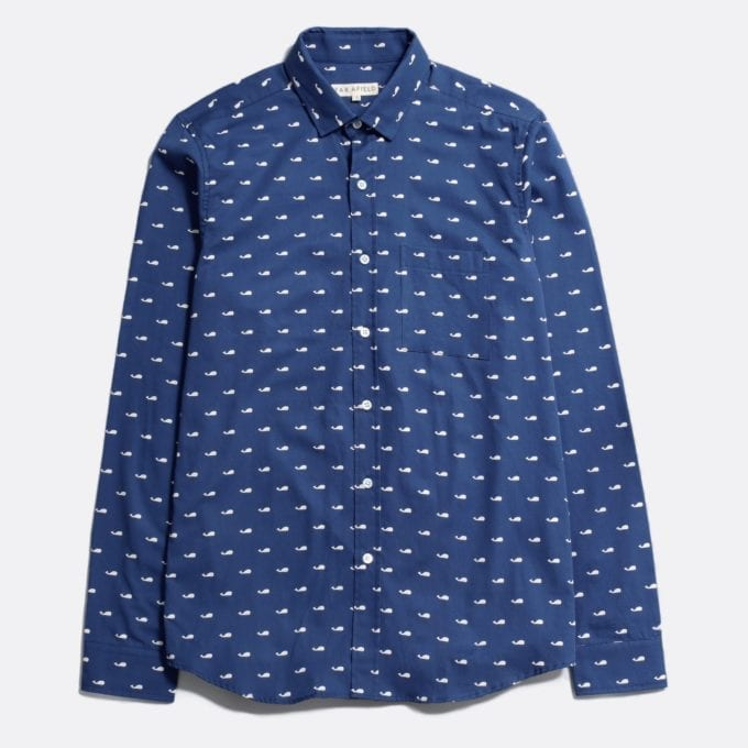 Far Afield Cognito Long Sleeve Shirt a Ensign Blue Organic Baby Twill Cotton Fabric Long Sleeve Shirt Smart Casual