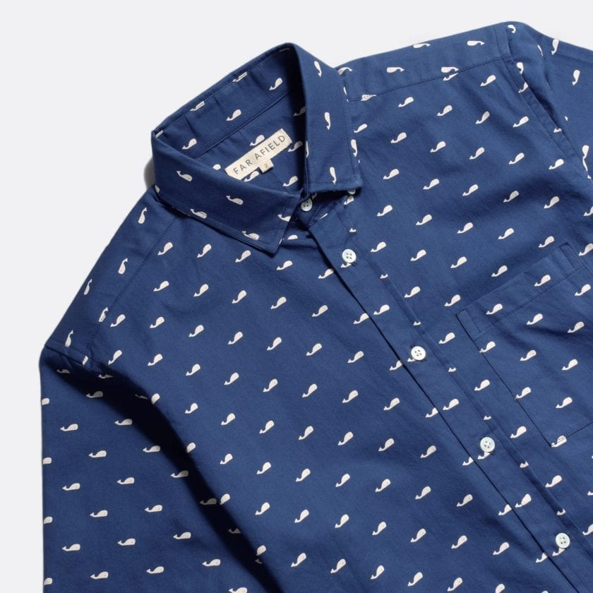 Far Afield Cognito Long Sleeve Shirt a Ensign Blue Organic Baby Twill Cotton Fabric Long Sleeve Shirt Smart Casual 5