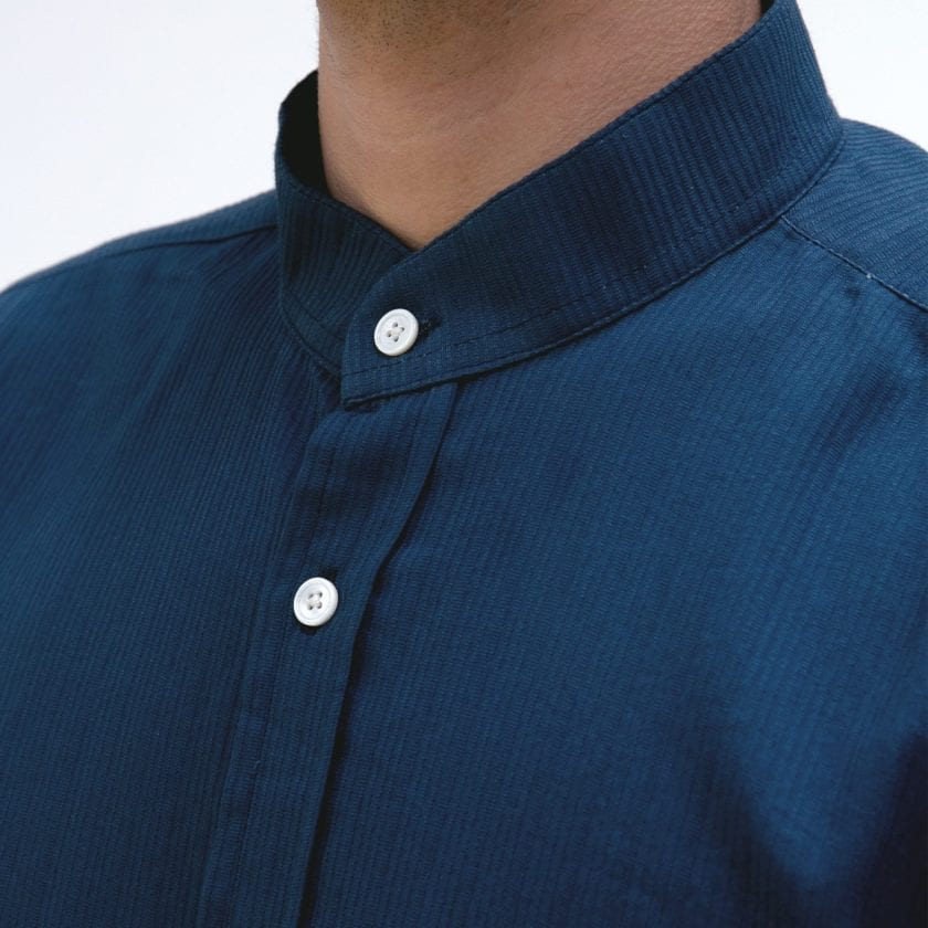 Far Afield Twombly Long Sleeve Shirt a Ensign Blue BCI Cotton Fabric Long Sleeve Shirt Smart Casual 3