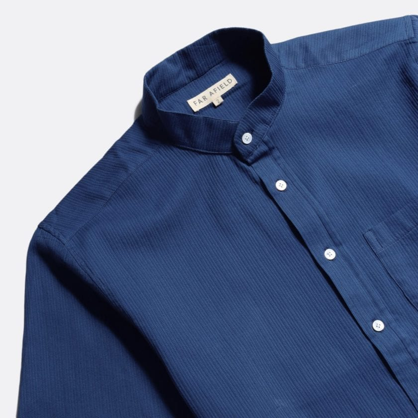 Far Afield Twombly Long Sleeve Shirt a Ensign Blue BCI Cotton Fabric Long Sleeve Shirt Smart Casual 4