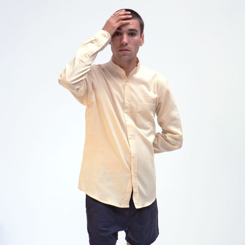 Far Afield Twombly Long Sleeve Shirt a Lambs White Textured Stripe BCI Cotton Twombly Shirt 2