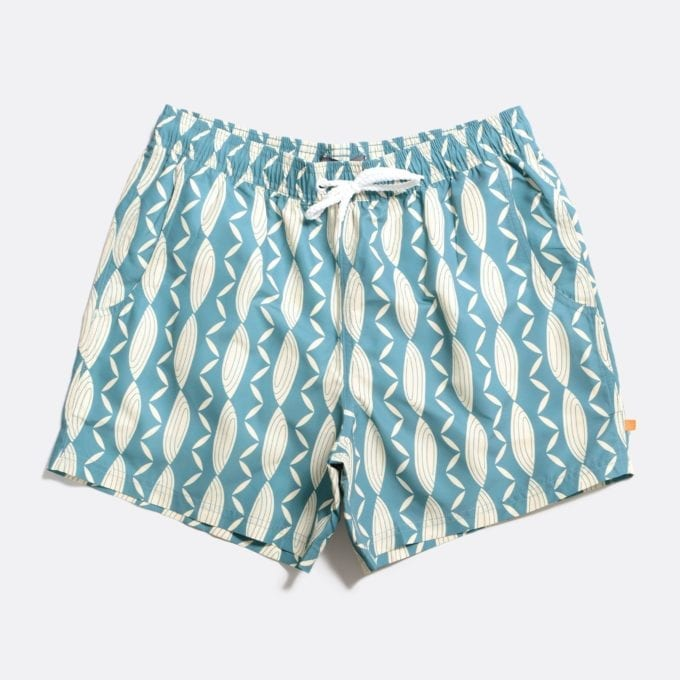 Far Afield Printed Swimshorts a Sagebrush Green Recycled Plastic Sustainable Fabric