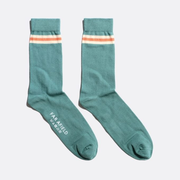 Far Afield Trio Stripe Socks a Sagebrush Green/Arabesque Orange 76% Cotton / 21% Poliyamide / 3% Elastane Fabric Casual Basics