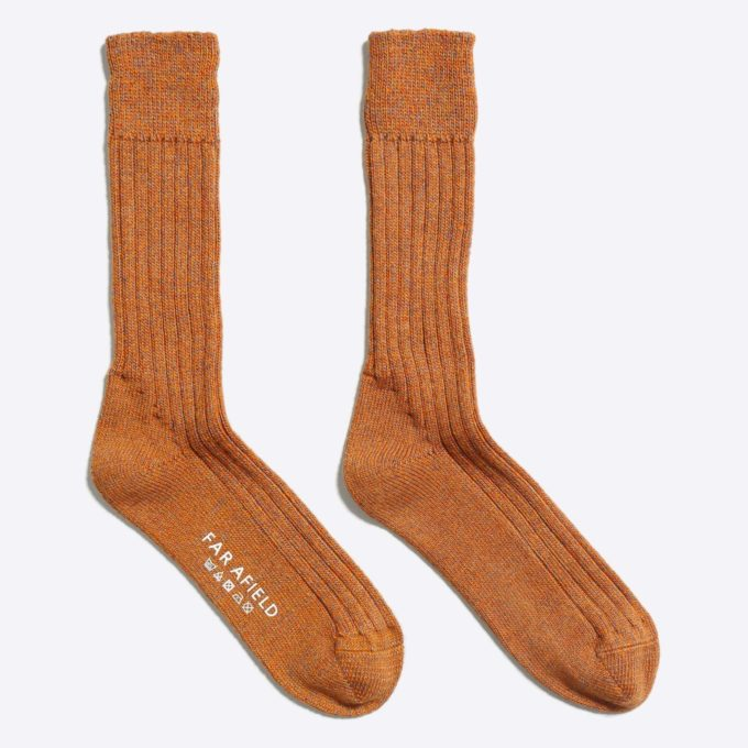Far Afield Largs Socks a Thick Orange Harvest Moon Merino Wool Blend Fabric