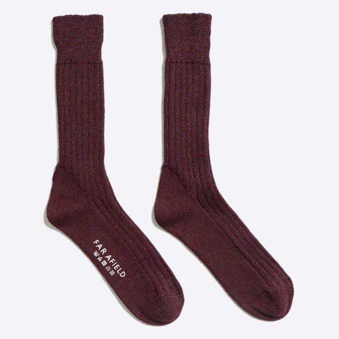 Far Afield Largs Socks a Maroon Sloeberry Merino Wool Blend Fabric
