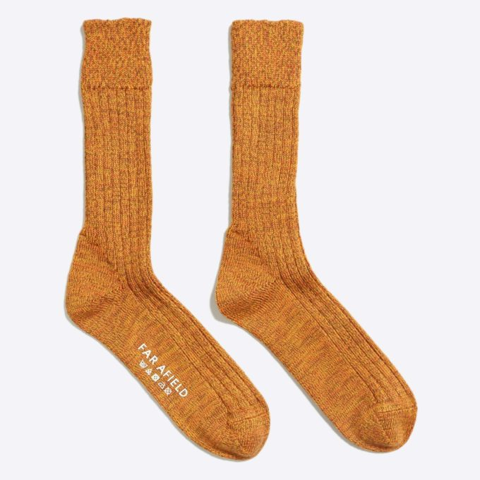Far Afield Largs Socks a Thick Orange Wildbroom Merino Wool Blend Fabric