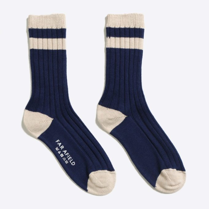 Far Afield Galloway Socks a Navy/Oatmeal Merino Wool Blend Fabric