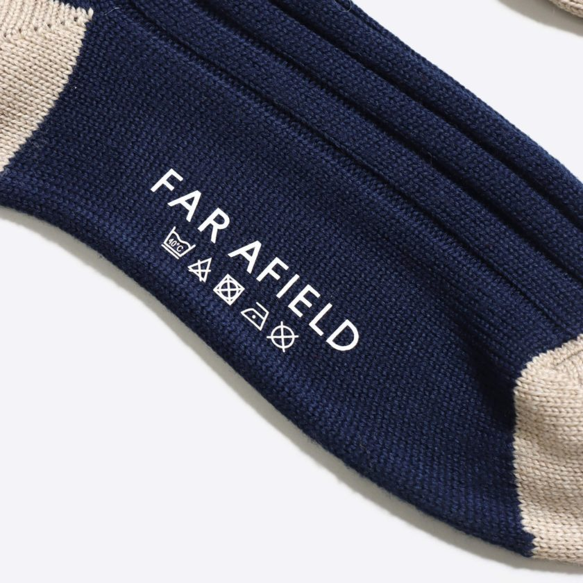Far Afield Galloway Socks a Navy/Oatmeal Merino Wool Blend Fabric 2