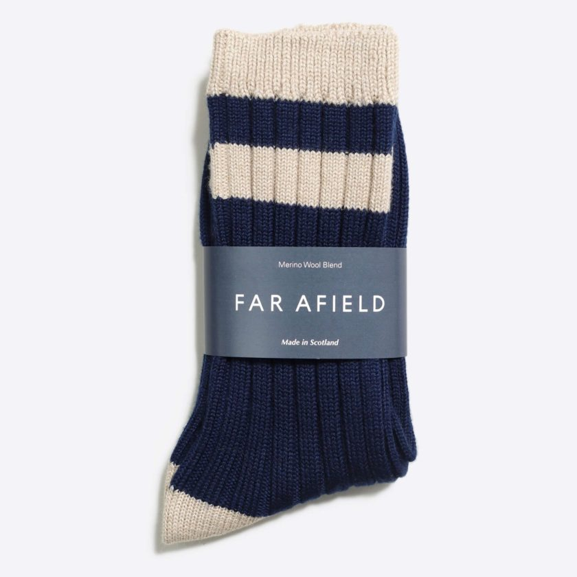 Far Afield Galloway Socks a Navy/Oatmeal Merino Wool Blend Fabric 3
