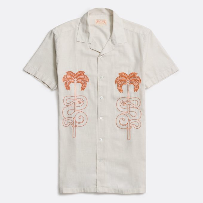 Far Afield x Printed Goods Stachio Short Sleeve Shirt a Snake Embroidered Cotton/Linen Bowling Shirt