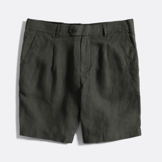 Far Afield Pleat Shorts a Grey Linen Fabric Smart Casual