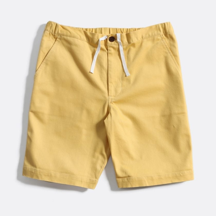 Far Afield Drawstring Shorts a Jojoba Yellow Organic Cotton Twill FabricCasual Basics