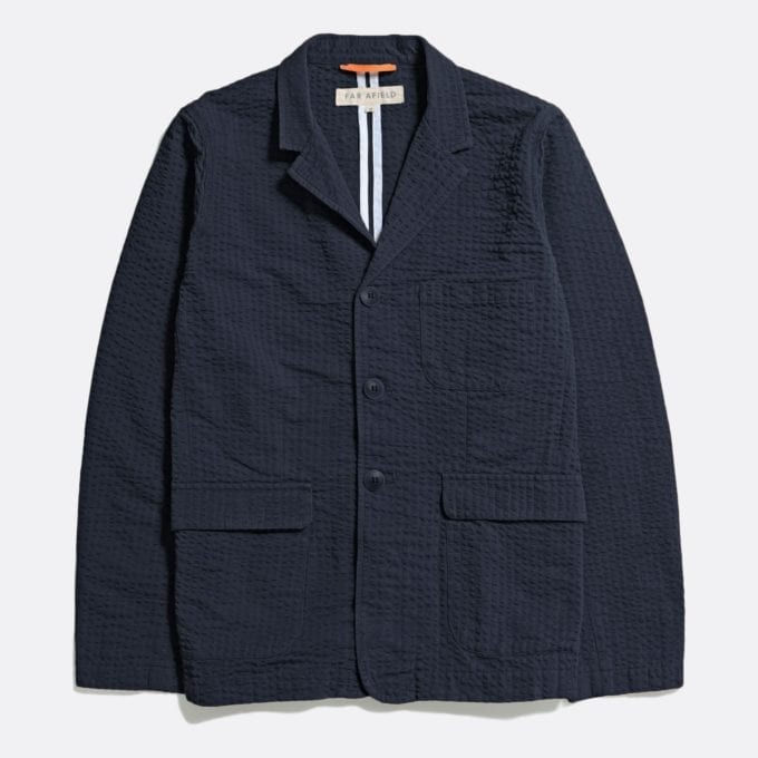 Far Afield Barbet Jacket a Ensign Blue BCI Cotton Fabric Seersucker Lightweight Work Blazer Smart Casual