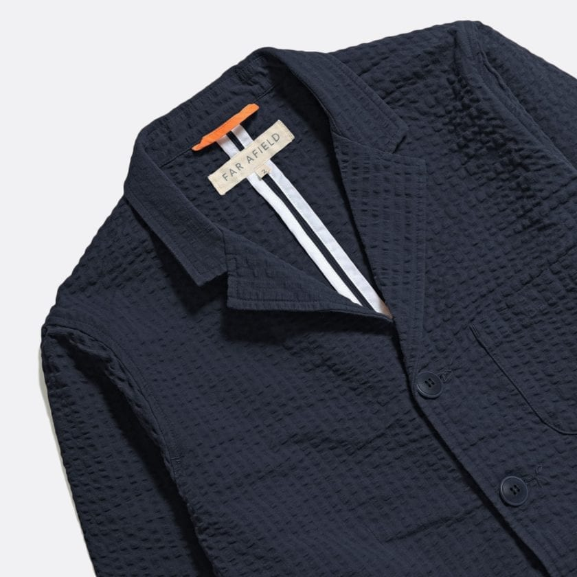 Far Afield Barbet Jacket a Ensign Blue BCI Cotton Fabric Seersucker Lightweight Work Blazer Smart Casual 4