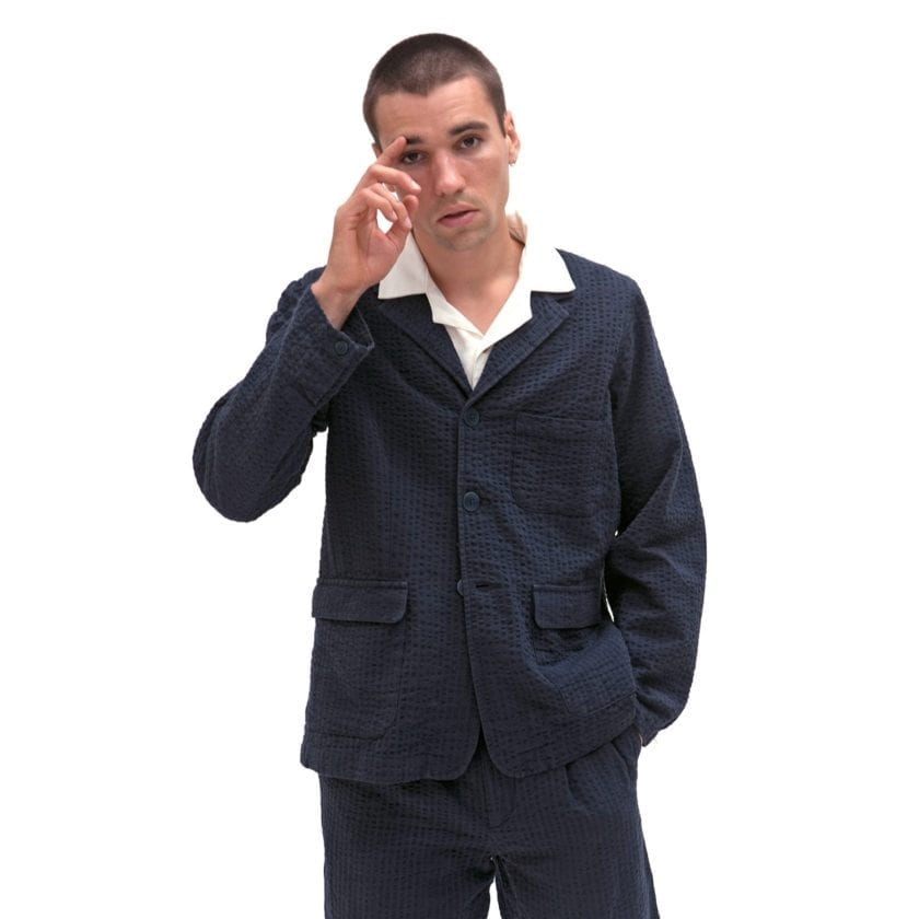 Far Afield Barbet Jacket a Ensign Blue BCI Cotton Fabric Seersucker Lightweight Work Blazer Smart Casual 2