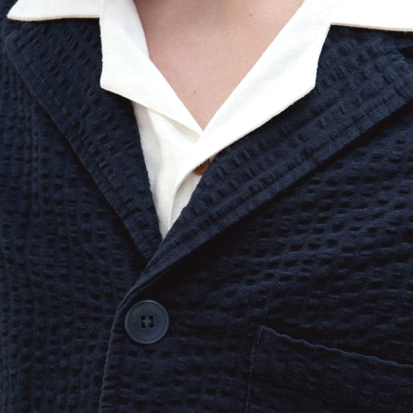 Far Afield Barbet Jacket a Ensign Blue BCI Cotton Fabric Seersucker Lightweight Work Blazer Smart Casual 3