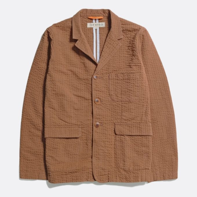 Far Afield Barbet Jacket a Thrush Brown BCI Cotton Fabric Seersucker Lightweight Work Blazer Smart Casual
