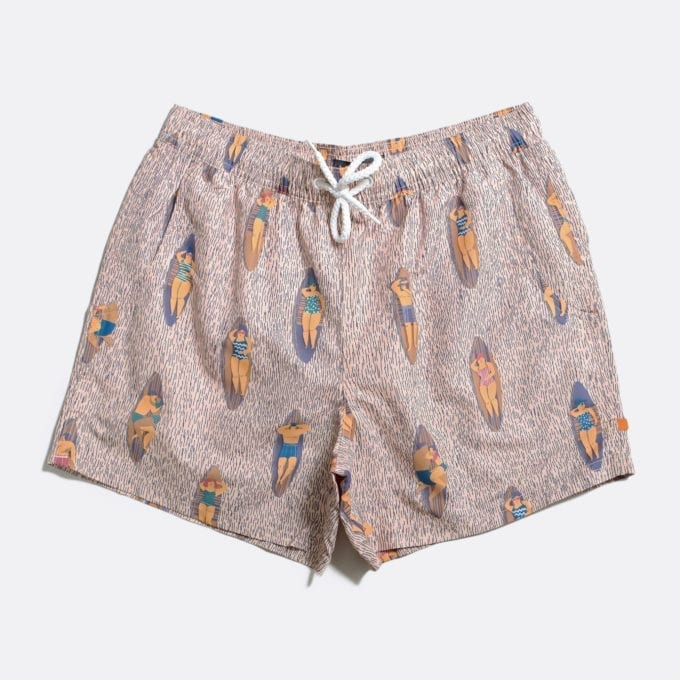 Far Afield Printed Swimshorts a Lambs White Recycled Plastic Sustainable Fabric