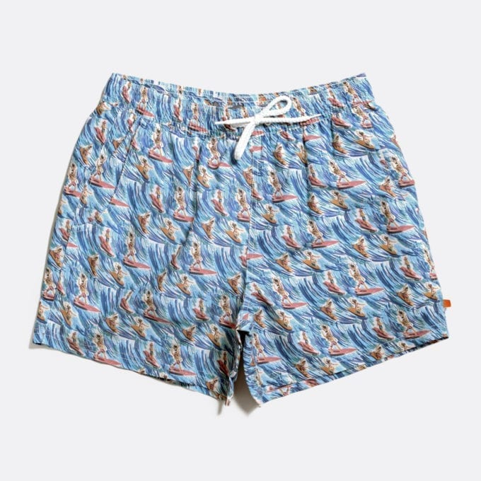 Far Afield Printed Swimshorts a Ensign Blue Recycled Plastic Sustainable Fabric