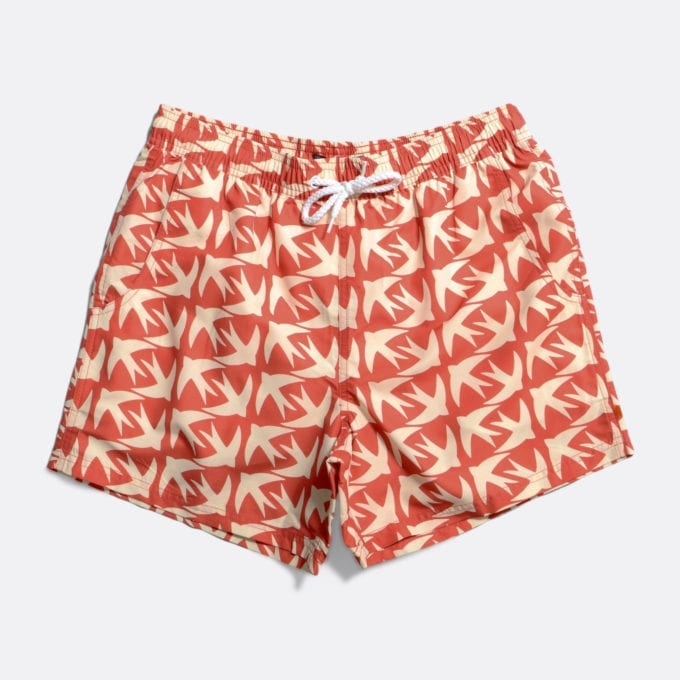 Far Afield Printed Swimshorts a Arabesque Orange Recycled Plastic Sustainable Fabric