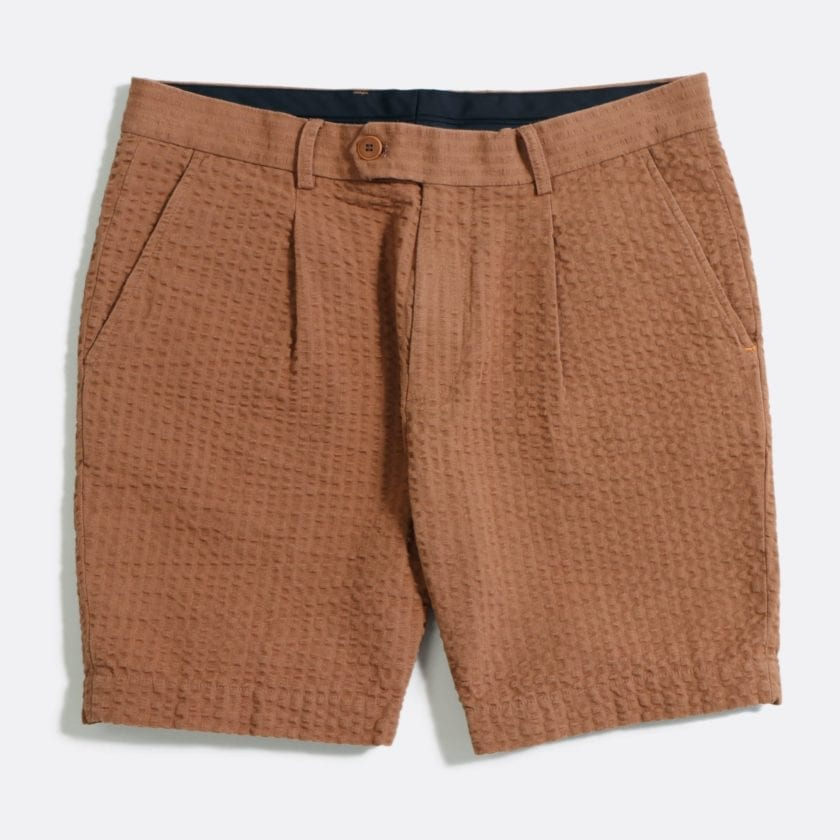 Far Afield Pleat Shorts a Thrush Brown BCI Cotton Fabric SeersuckerSmart Casual
