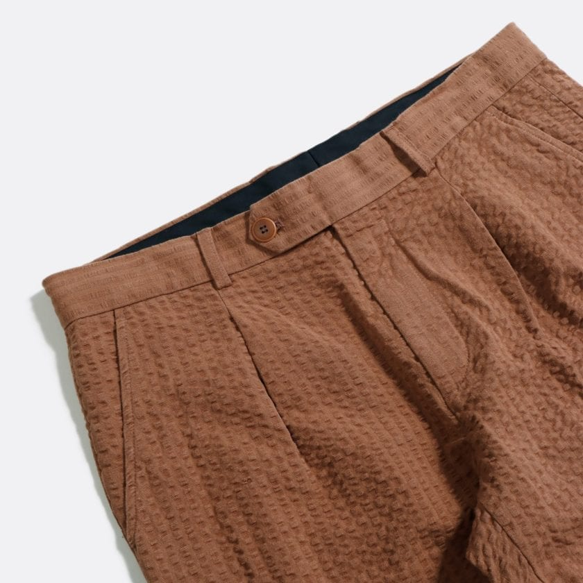 Far Afield Pleat Shorts a Thrush Brown BCI Cotton Fabric SeersuckerSmart Casual 2