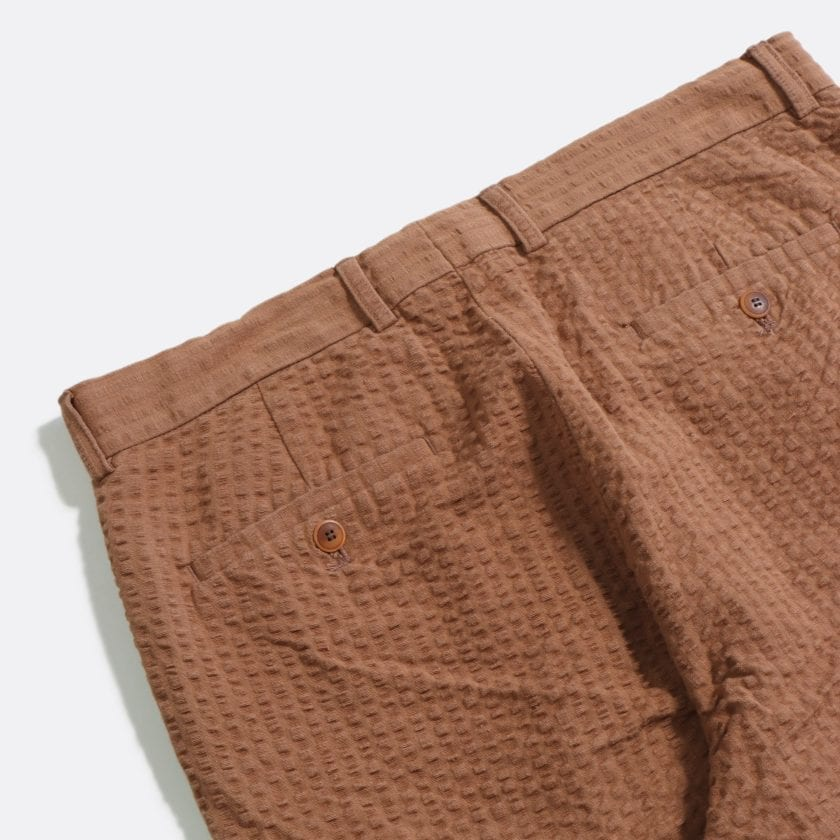 Far Afield Pleat Shorts a Thrush Brown BCI Cotton Fabric SeersuckerSmart Casual 4