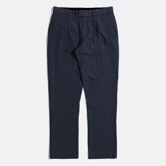Far Afield Pleat Trousers a Ensign Blue BCI Cotton Fabric SeersuckerSmart Casual