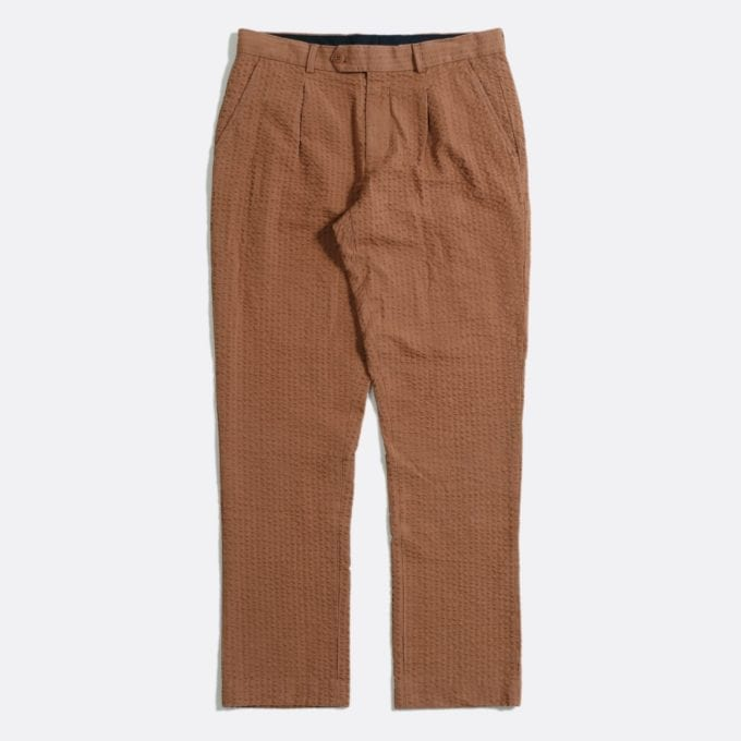 Far Afield Pleat Trousers a Thrush Brown BCI Cotton Seersucker Fabric Smart Casual