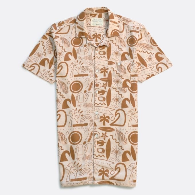 Far Afield x Atelier Bingo Selleck Short Sleeve Shirt a Surf Club Print BCI Cotton/Linen Blend Short Sleeve Selleck Shirt