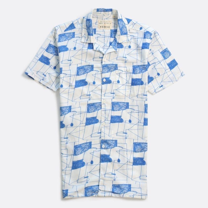 Far Afield x Hense Selleck Short Sleeve Shirt a Blue Lines Print BCI Cotton/Linen Blend Short Sleeve Selleck Shirt