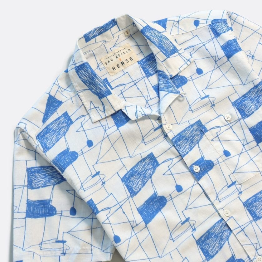 Far Afield x Hense Selleck Short Sleeve Shirt a Blue Lines Print BCI Cotton/Linen Blend Short Sleeve Selleck Shirt 2