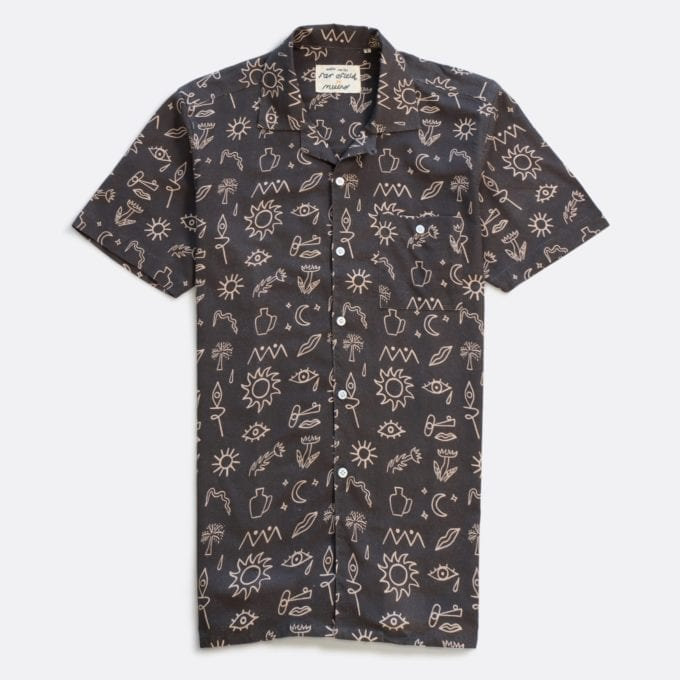Far Afield x Marcello Velho Selleck Short Sleeve Shirt a Shapes Print BCI Cotton/Linen Blend Short Sleeve Selleck Shirt