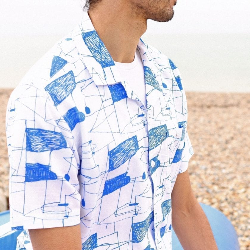 Far Afield x Hense Selleck Short Sleeve Shirt a Blue Lines Print BCI Cotton/Linen Blend Short Sleeve Selleck Shirt 6