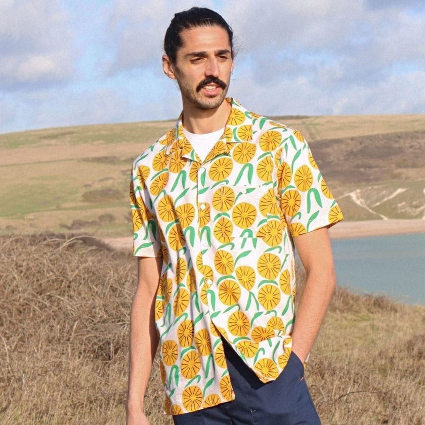 Far Afield x Marcello Velho Selleck Short Sleeve Shirt a Orange Blossom Print BCI Cotton/Linen Blend Short Sleeve Stachio Shirt 6
