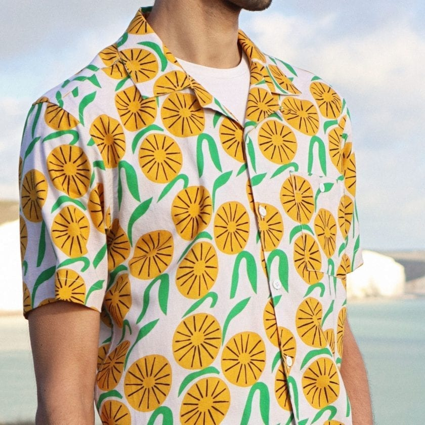 Far Afield x Marcello Velho Selleck Short Sleeve Shirt a Orange Blossom Print BCI Cotton/Linen Blend Short Sleeve Stachio Shirt 7