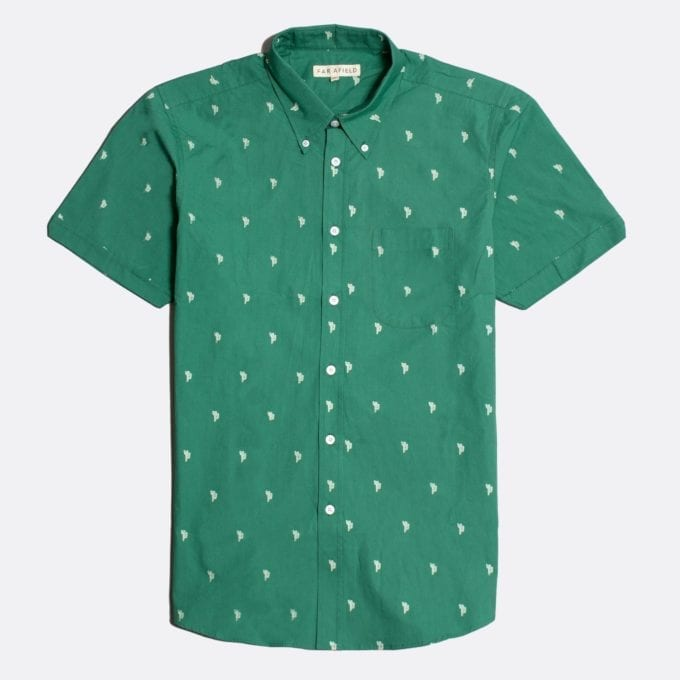 Far Afield Mod Button Down Short Sleeve Shirt a Green Cactus Print BCI Cotton Mod Button Down Short Sleeve Shirt