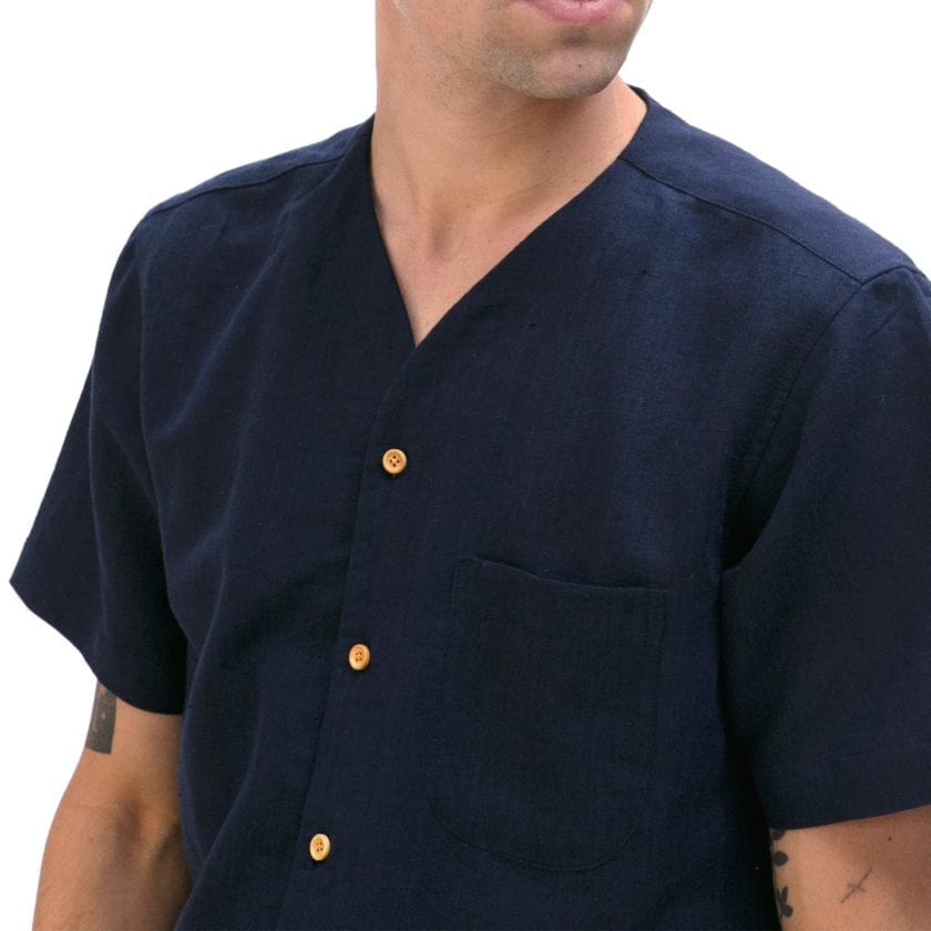 Far Afield Harvey Short Sleeve Shirt a Navy Linen Fabric North American Casual 3