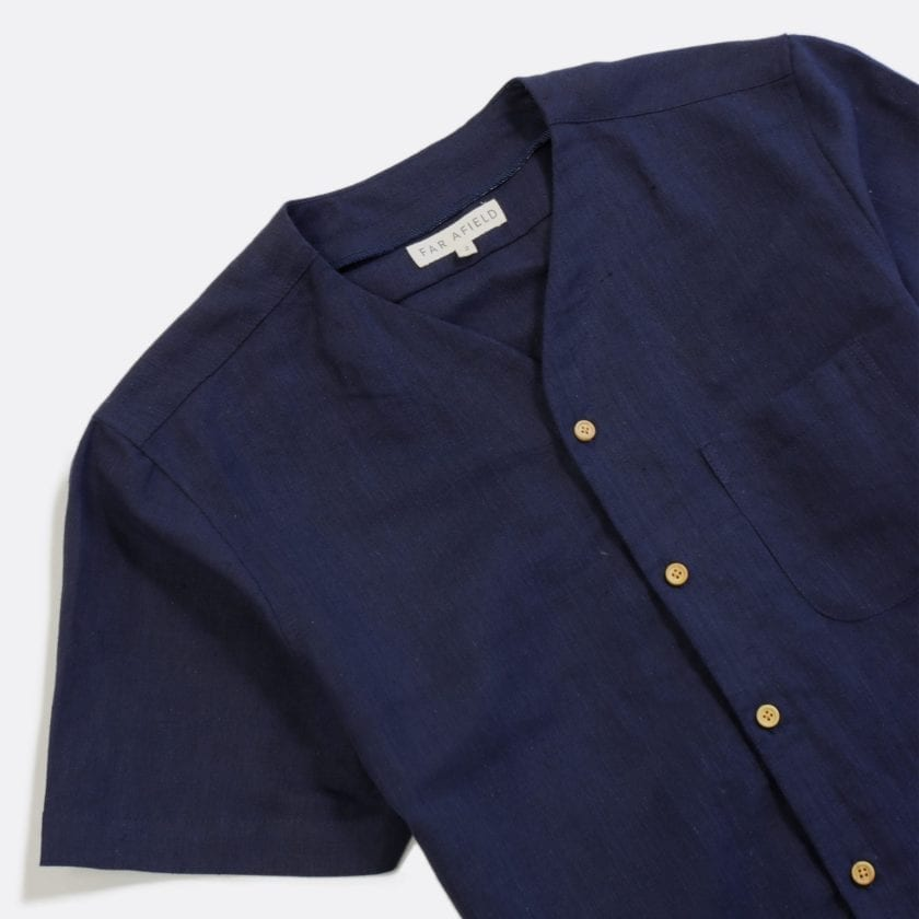 Far Afield Harvey Short Sleeve Shirt a Navy Linen Fabric North American Casual 4