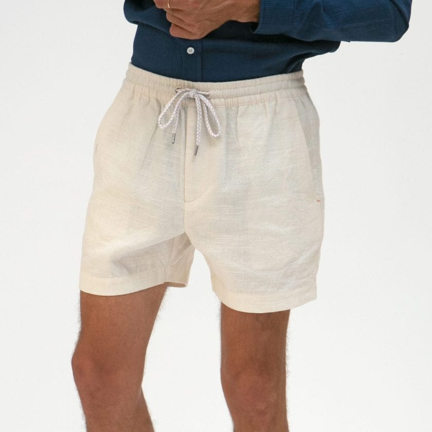 Far Afield House Shorts a White Sand Linen Fabric Casual Basics 2