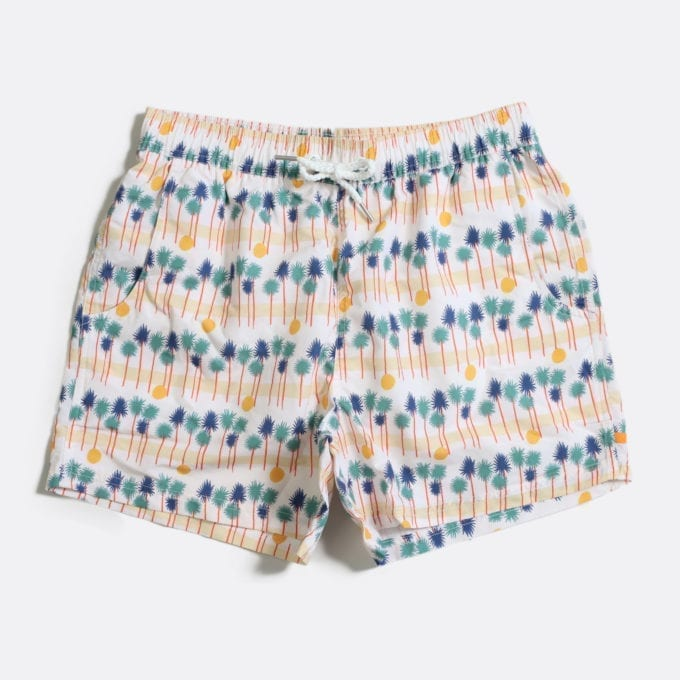 Far Afield x Selfridges Palm Stripe Print Swim Shorts a White Sand Recycled Plastic Palm Stripe Print Swim Shorts