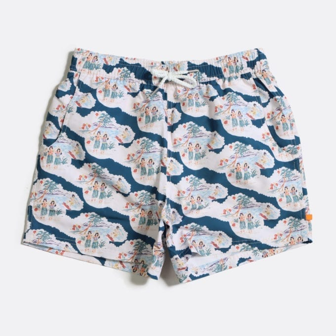 Far Afield x Selfridges Waikiki Print Swim Shorts a Ensign Blue Recycled Plastic Waikiki Print Swim Shorts