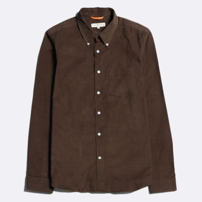 Far Afield Field Long Sleeve Shirt a Dark Brown Organic Cotton Corduroy Long Sleeve Field Shirt