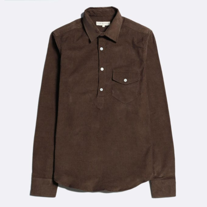 Far Afield Flap Pocket Pop Over Long Sleeve Shirt a Dark Brown Organic Cotton Corduroy Flap Pocket Pop Over Long Sleeve Shirt